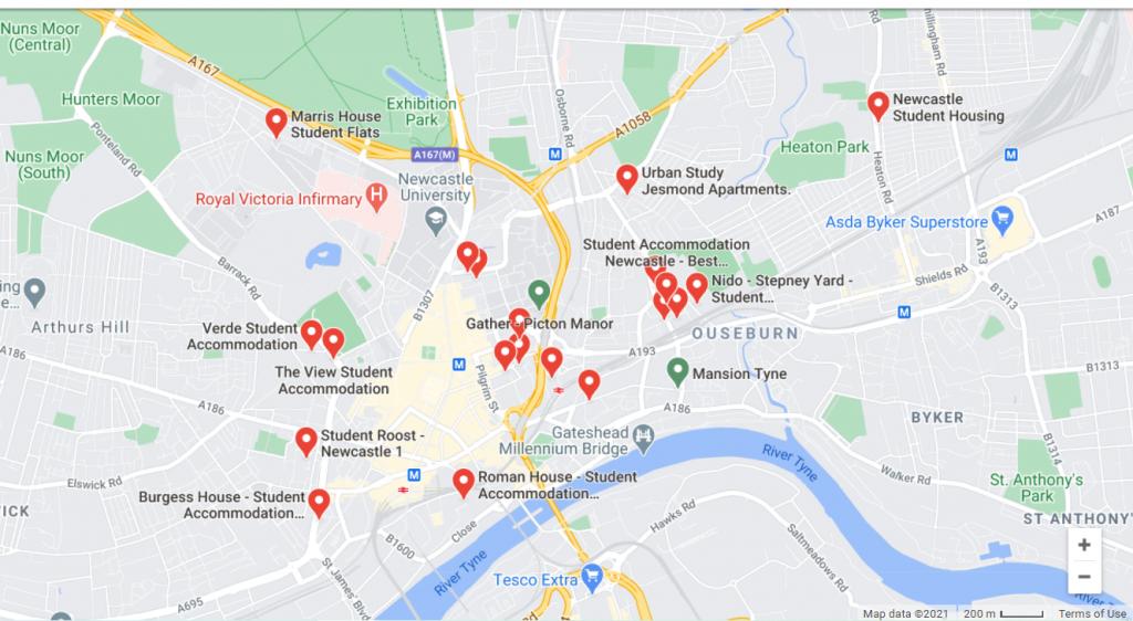 Map of Newcastle Student Accommodation