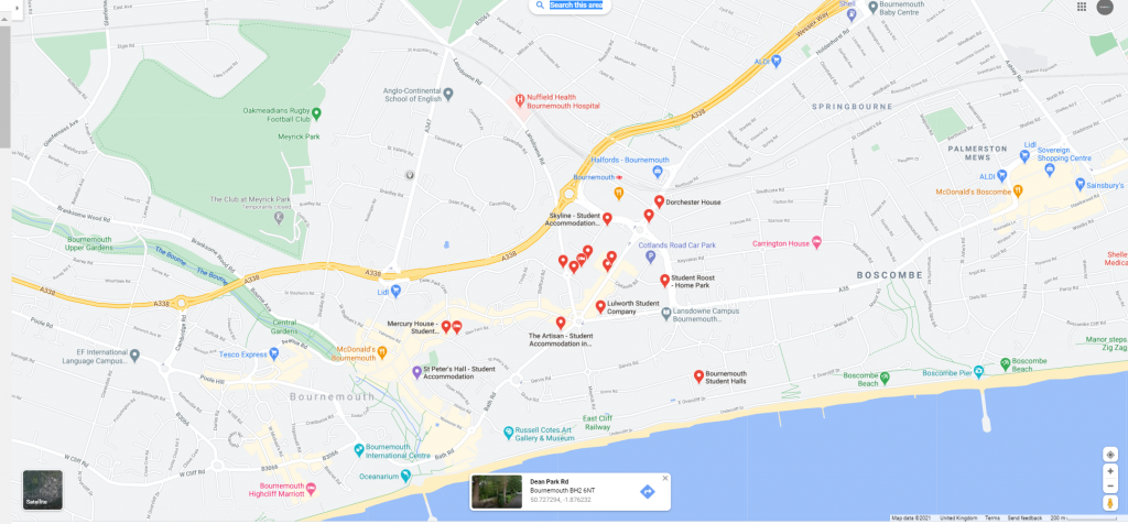 Map of student accommodation in Bournemouth UK