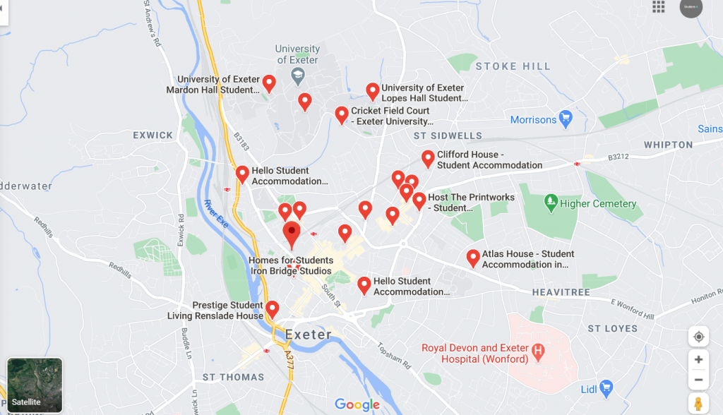 Map of Student Accommodation in Exeter