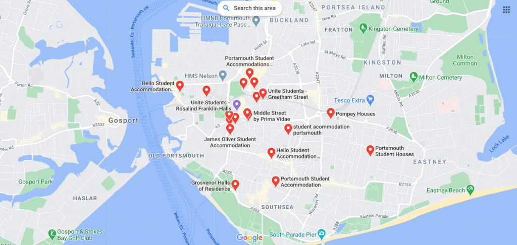 Map of Portsmouth Student Accommodation