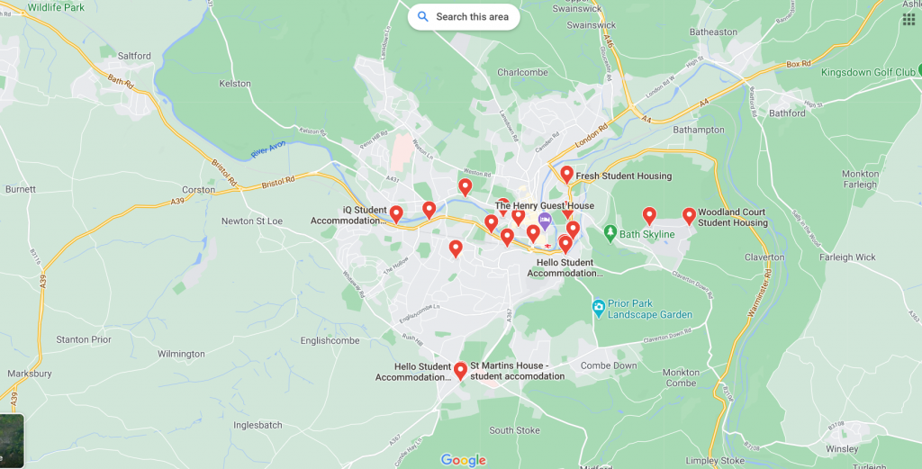 Map of Student Accommodation in Bath