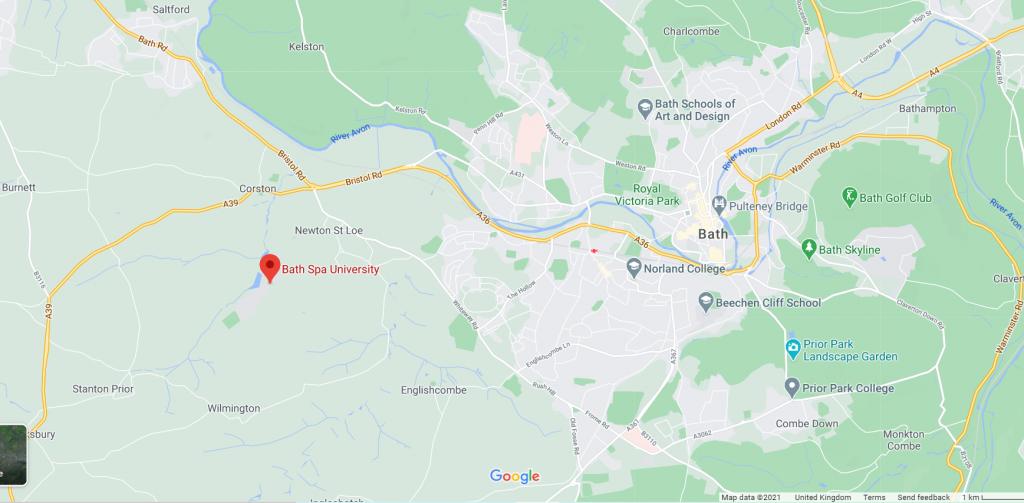 Map Showing Bath Spa University
