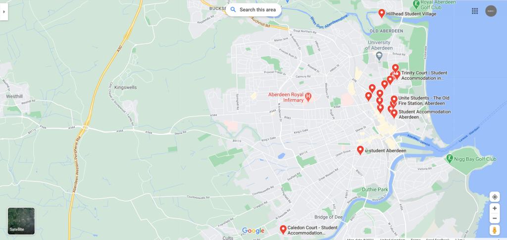 Map of Student Accommodation in Aberdeen
