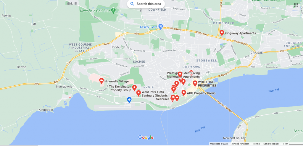 Map of student accommodation in Dundee