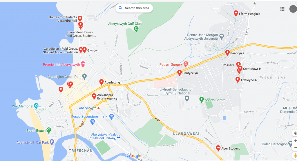 Map of student accommodation in Aberystwyth
