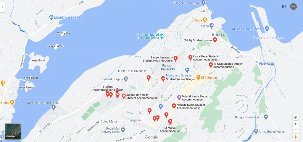 Map of student accommodation in Bangor