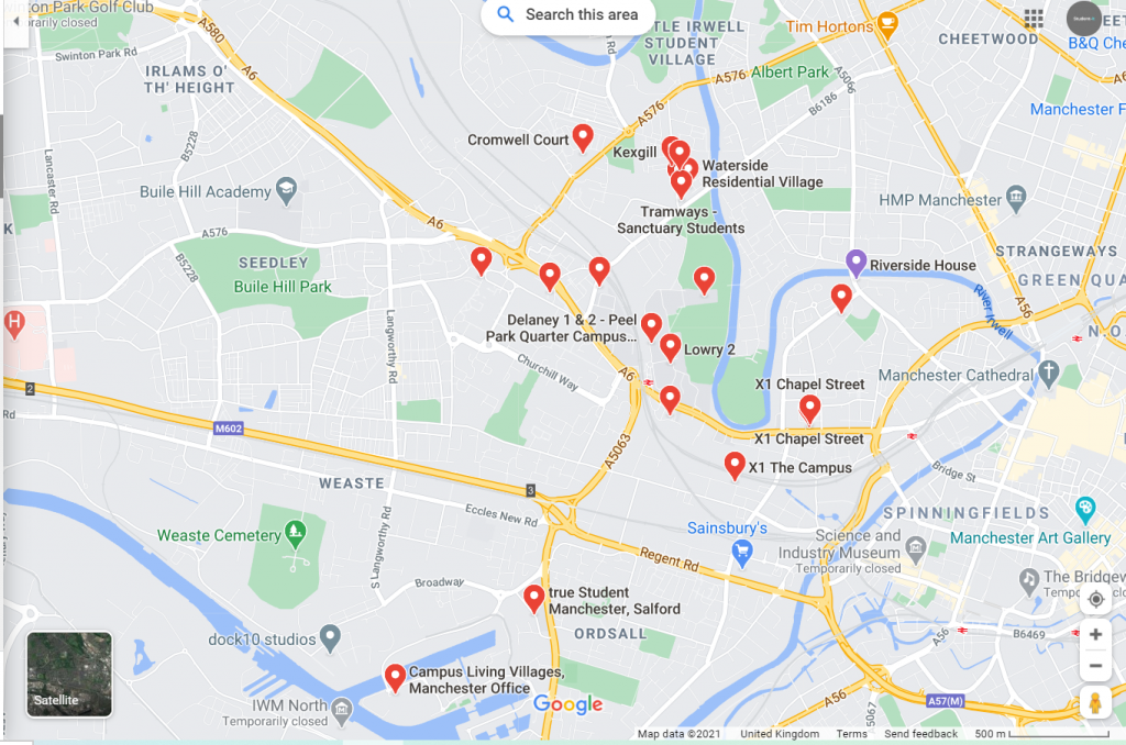 Map of Student Accommodation in Salford
