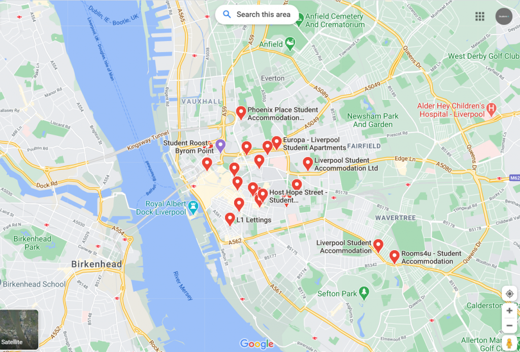 Map of Student Accommodation in Liverpool