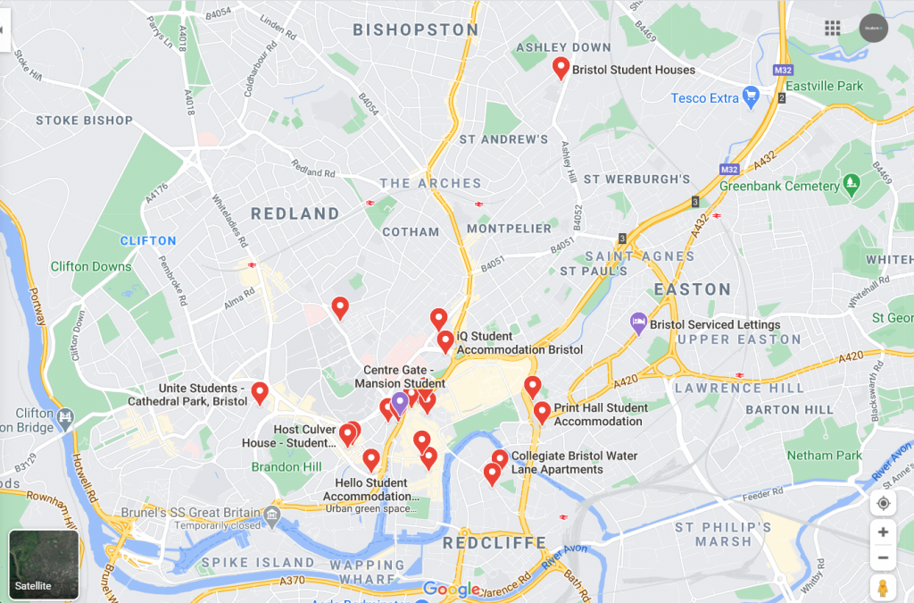 Map of Student Accommodation in Bristol
