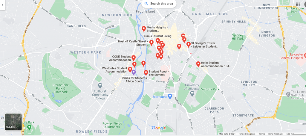 Map of Student Accommodation in Leicester