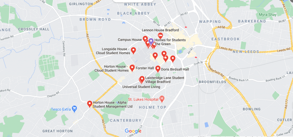 Map of Student Accommodation in Bradford