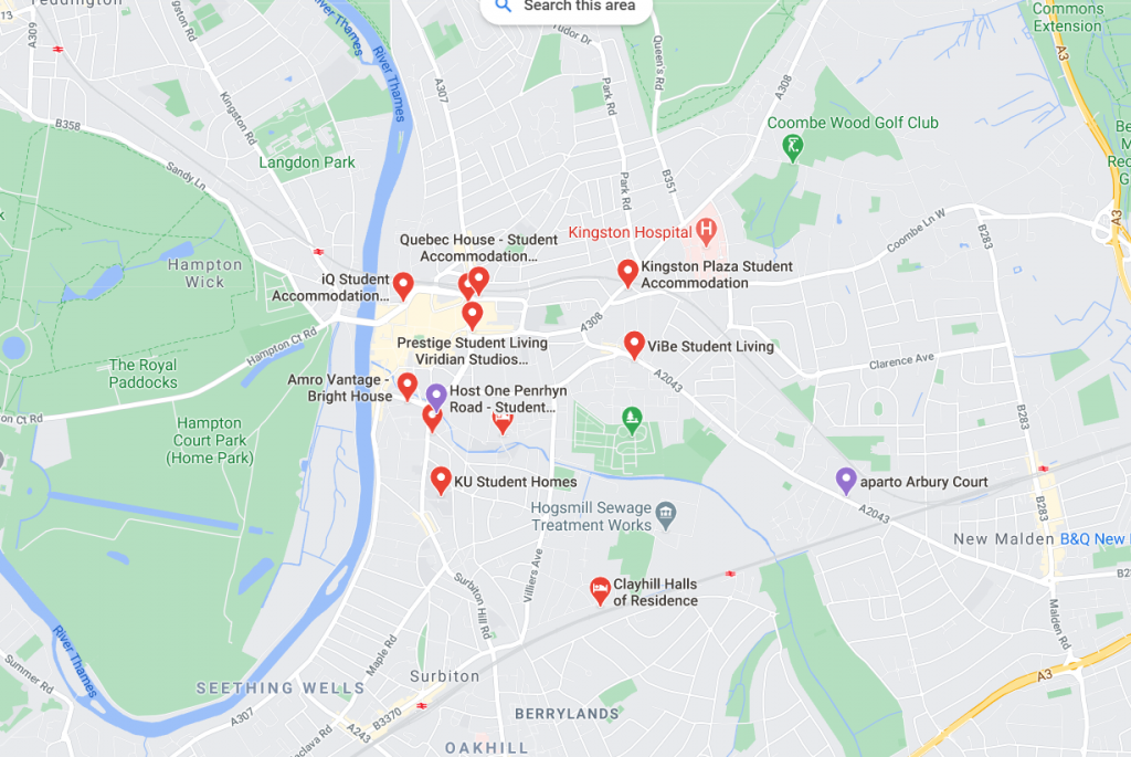Map of student accommodation in Kingston Upon Thames