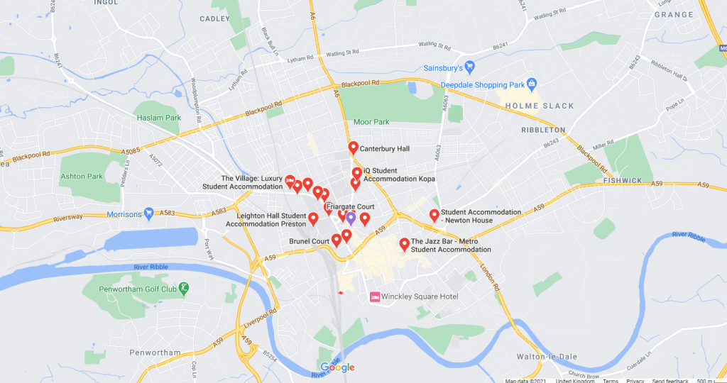 Map of student accommodation in Preston
