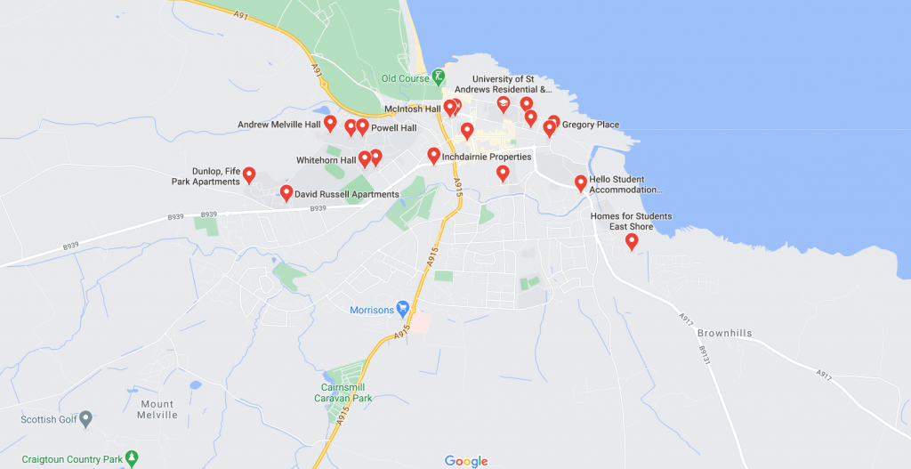 Map of student accommodation in St Andrews