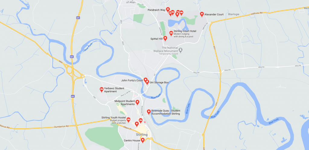 Map of student accommodation in Stirling