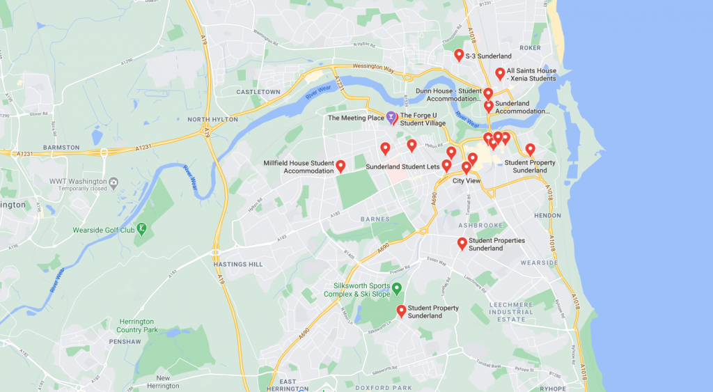 Map of student accommodation in Sunderland