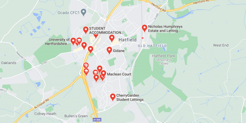Map of student accommodation in Hatfield