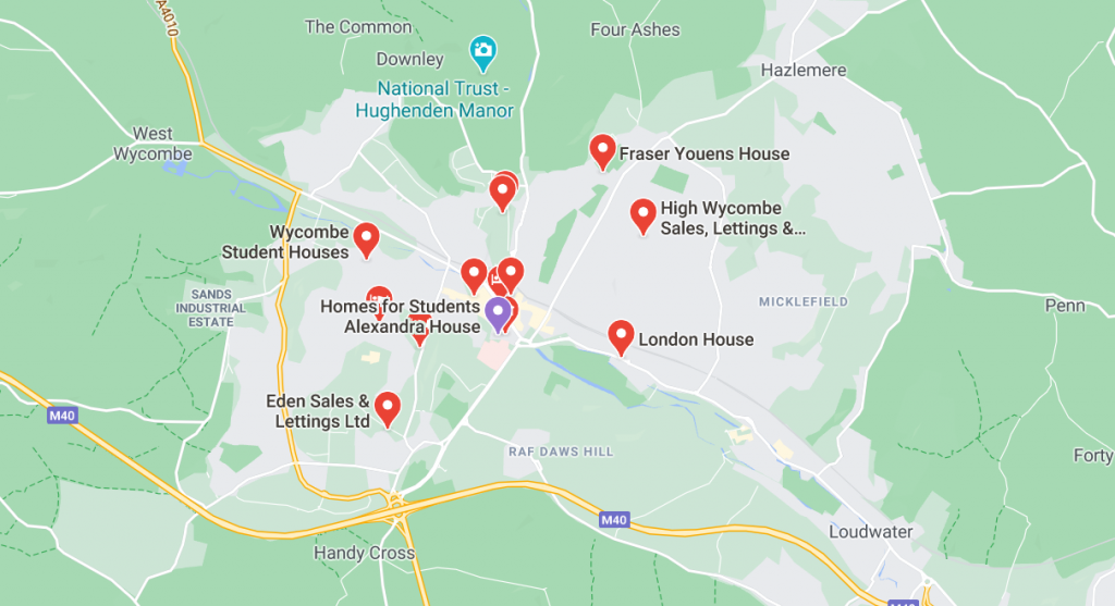 Map of Student accommodation in High Wycombe