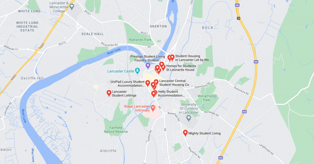 Map of student accommodation in Lancaster