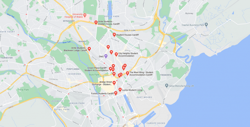 Map of student accommodation in Cardiff