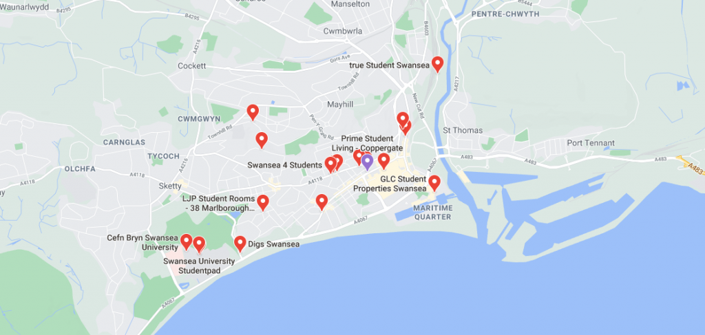 Map of student accommodation in Swansea