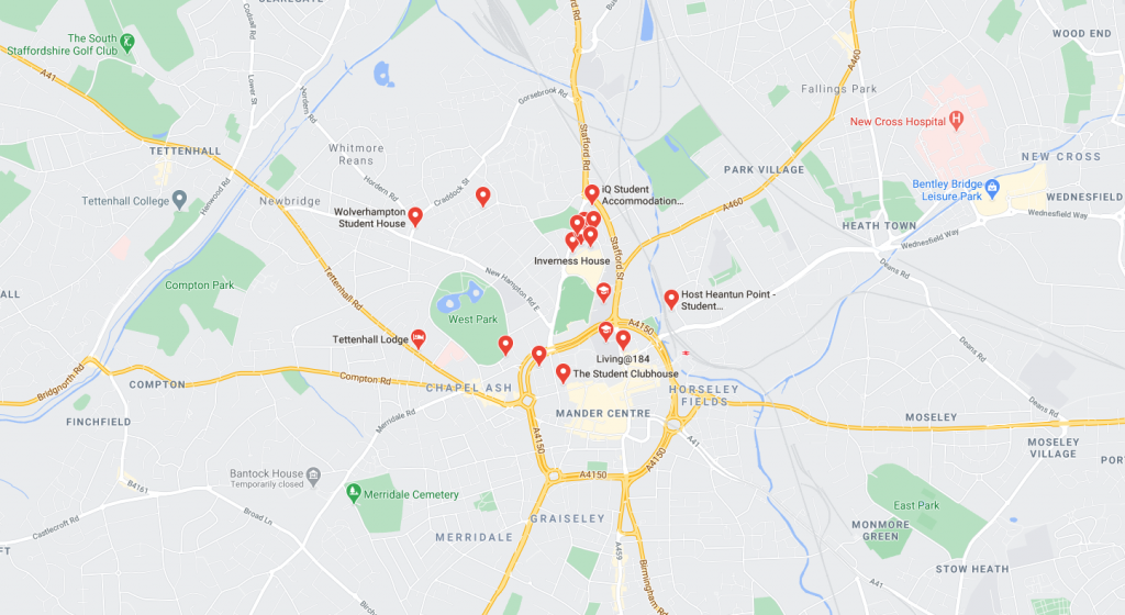 Map of student accommodation in Wolverhampton