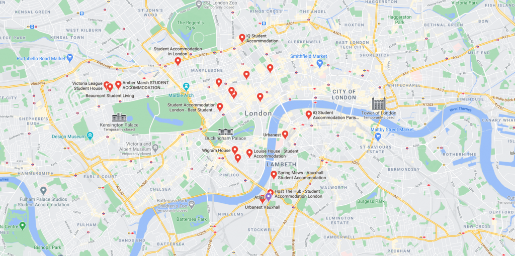 Map of student accommodation in Westminster