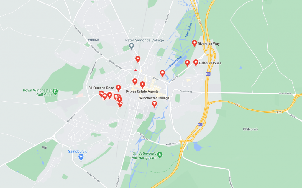 Map of student accommodation in Winchester